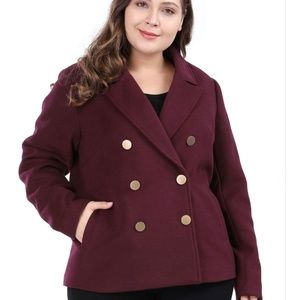 Jackets & Blazers - Winter Pea Coat Double Breasted Notched Lapel 2X